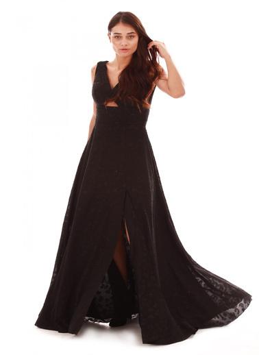 Pierre Cardin Leopar Desenli Yırtmaçlı Uzun Abiye Elbise Siyah